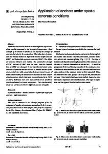 Application of anchors under special concrete conditions - Periodica