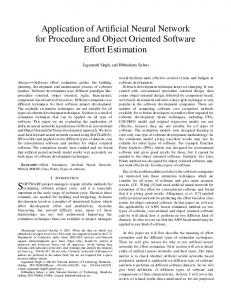 Application of Artificial Neural Network for Procedure and Object ...