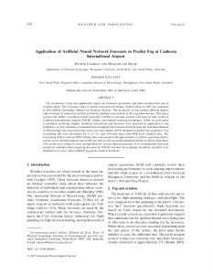 Application of Artificial Neural Network Forecasts to Predict Fog at ...