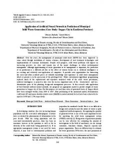 Application of Artificial Neural Network in Prediction of Municipal Solid ...