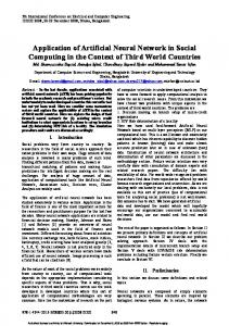 Application of Artificial Neural Network in Social Computing in the ...