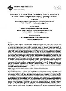 Application of Artificial Neural Networks for Emission Modelling of ...