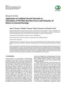Application of Artificial Neural Networks to Calculation of Oil Film ...