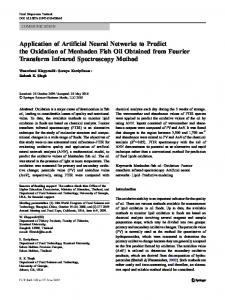 Application of Artificial Neural Networks to Predict the Oxidation of ...