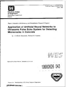 Application of Artificial Neural Networks to Ultrasonic Pulse Echo ...