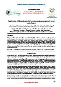 Application of biosynthesized silver nanoparticles as a novel vector ...