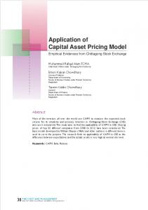 Application of Capital Asset Pricing Model - ICMAB
