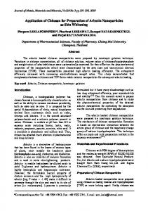 Application of Chitosan for Preparation of Arbutin Nanoparticles as ...