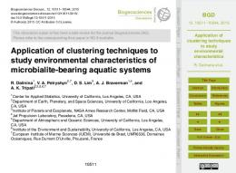 Application of clustering techniques to study ... - Biogeosciences