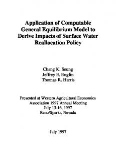 Application of Computable General Equilibrium ... - AgEcon Search