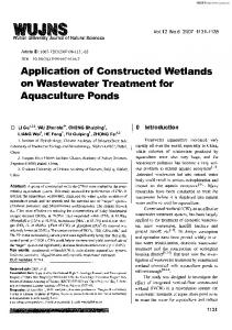 Application of Constructed Wetlands on Wastewater Treatment for ...