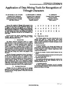 Application of Data Mining Tools for Recognition of Tifinagh Characters