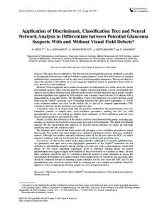 Application of Discriminant, Classification Tree and Neural Network ...
