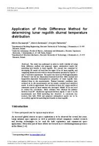 Application of Finite Difference Method for ... - E3S Web of Conferences