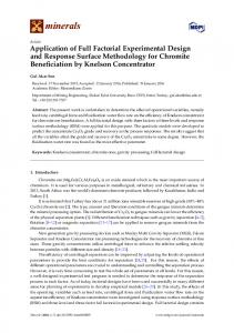 Application of Full Factorial Experimental Design and ... - MDPI