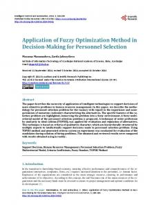Application of Fuzzy Optimization Method in Decision-Making for