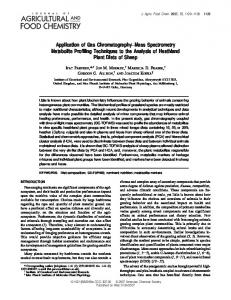 Application of Gas Chromatography− Mass Spectrometry Metabolite ...