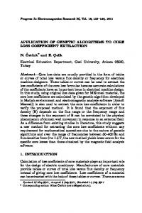 APPLICATION OF GENETIC ALGORITHMS TO CORE LOSS ...