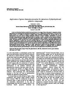 Application of green chemistry principles for extraction of ... - NOPR