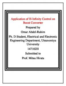 Application of H-Infinity Control on Boost Converter