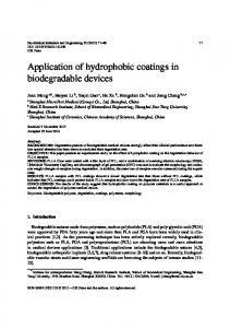 Application of hydrophobic coatings in biodegradable ... - IOS Press