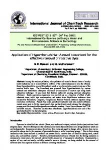 Application of - International Journal of ChemTech Research
