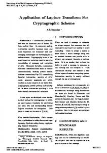 Application of Laplace Transform For Cryptographic Scheme