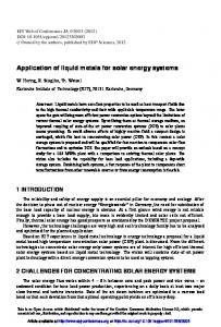 Application of liquid metals for solar energy systems - EPJ WOC