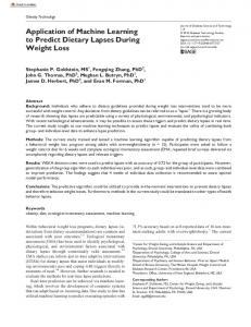 Application of Machine Learning to Predict Dietary ...