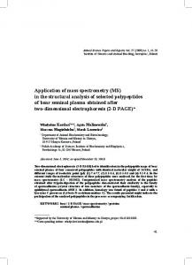 Application of mass spectrometry (MS) in the structural analysis of ...
