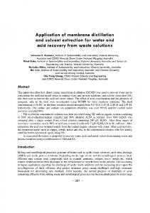 Application of membrane distillation and solvent ...
