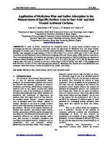 Application of Methylene Blue and Iodine Adsorption in the