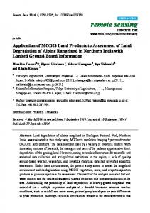 Application of MODIS Land Products to Assessment of Land ... - MDPI