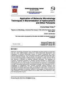 Application of Molecular Microbiology Techniques in Bioremediation ...