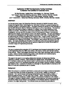 Application Of MSR Nondestructive Testing Technique To Monitor The ...