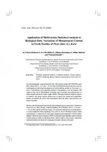Application of Multivariate Statistical Analysis to ... - Milan Meloun