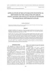 application of multivariate statistical methods in the analysis of czech ...