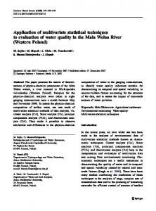 Application of multivariate statistical techniques to evaluation of water ...