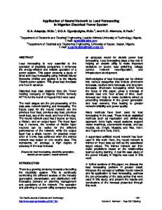 Application of Neural Network to Load Forecasting in ... - CiteSeerX