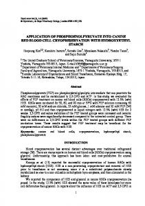 Application of Phosphoenolpyruvate into Canine ... - Ingenta Connect