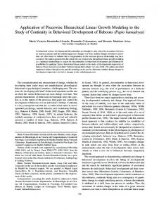 Application of Piecewise Hierarchical Linear Growth Modeling to the ...
