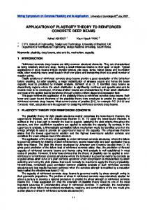 Application of plasticity theory to reinforced concrete deep ... - CiteSeerX
