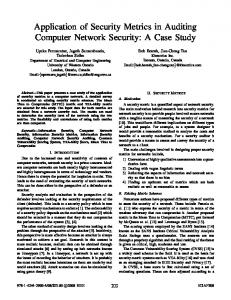 Application of Security Metrics in Auditing Computer Network Security ...
