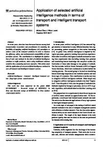 Application of selected artificial intelligence methods in terms of ...