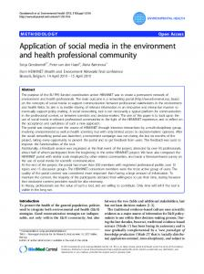 Application of social media in the environment and health professional ...