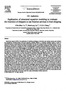 Application of structural equation modeling to evaluate the intention of ...