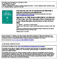 Application of TAGE Iterative Methods for the Solution of Nonlinear