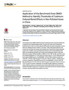 Application of the Benchmark Dose (BMD) Method to Identify ...