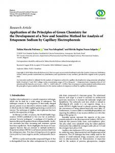 Application of the Principles of Green Chemistry for the Development