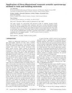 Application of three-dimensional resonant acoustic spectroscopy ...